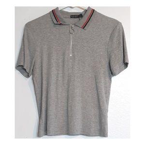 Bershka gray zip neck collar t-shirt